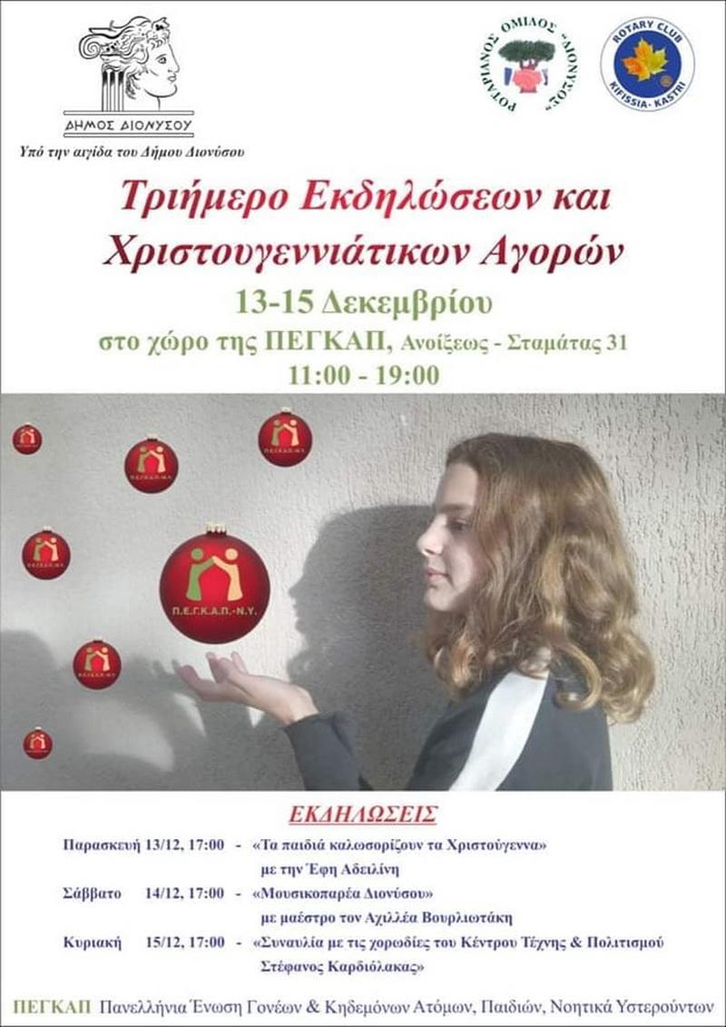 Poster φιλανθρωπικών εκδηλώσεων και Χριστουγεννιάτικων αγορών