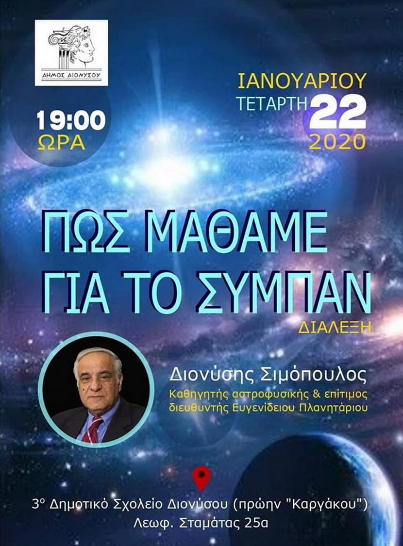 Διάλεξη αστροφυσικής Διόνυσος αφίσα