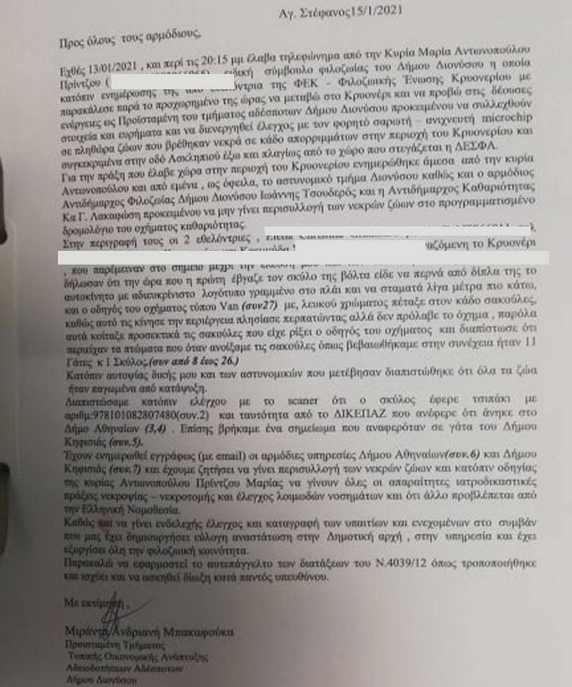 μήνυτήρια αναφορά Δήμου Διονύσου 2021