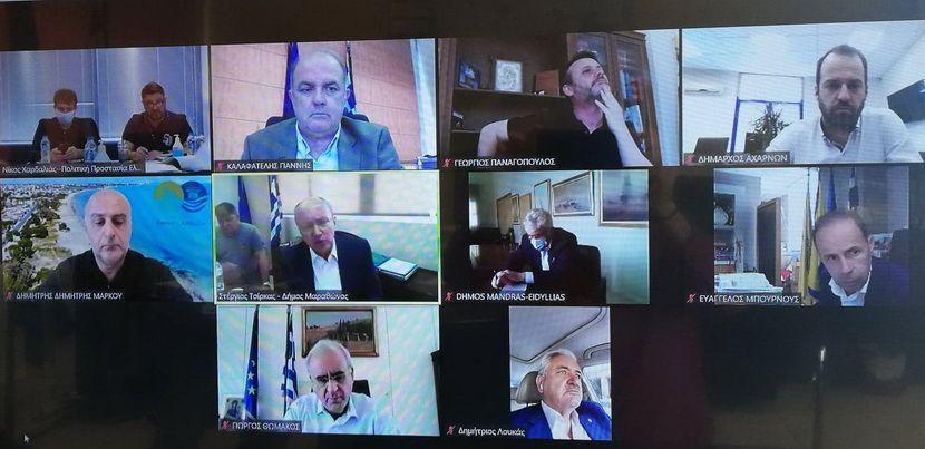 τηλεδιάσκεψη Δημάρχου Διονύσου Υπουργούς Πολιτικής Προστασίας