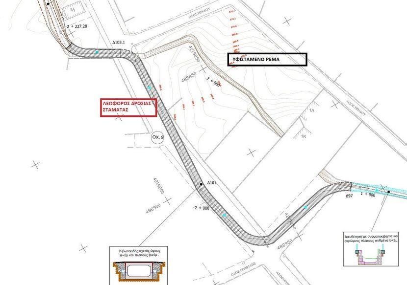 μελέτη «Διευθέτηση - Οριοθέτηση Ρεμάτων ΠΕΕΑ - Ρέμα Ροδόπολης» χάρτης